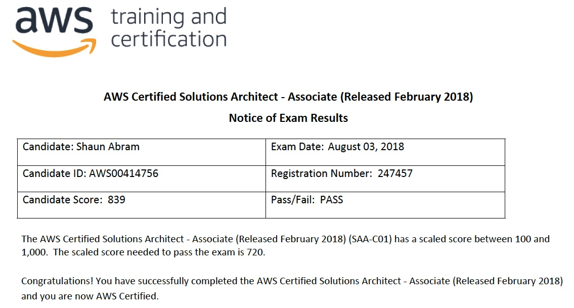 Shaun Abram » Blog Archive » Passed AWS Certified Solutions ...